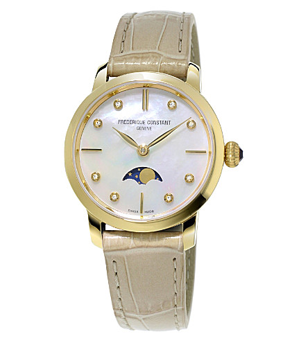 FREDERIQUE CONSTANT FC-206MPWD1S5 Slimline Moonphase stainless steel and diamond watch (Mother-of-pearl