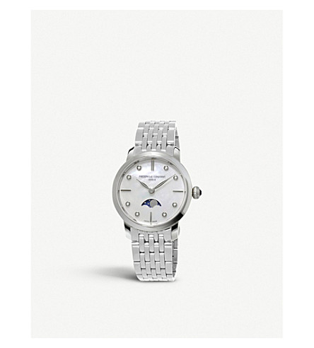 FREDERIQUE CONSTANT FC-206MPWD1SD6B Slinline Moonphase stainless steel and diamond watch (Mother-of-pearl
