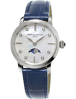 FREDERIQUE CONSTANT FC206MPWD1S6 Slimline Moonphase stainless steel and crococalf-leather watch
