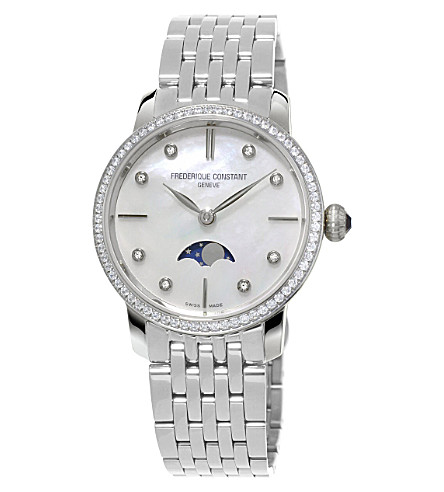 FREDERIQUE CONSTANT FC-206MPWD1SD6B Slinline Moonphase stainless steel and diamond bezel watch (Mother-of-pearl