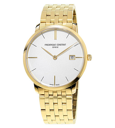FREDERIQUE CONSTANT FC220V5S5B Slimline yellow gold-plated stainless steel watch (White