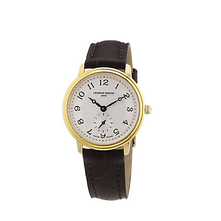 FREDERIQUE CONSTANT FC235AS1S5 gold-plated and leather watch (Gold
