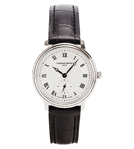 FREDERIQUE CONSTANT FC235M1S6 slim line silver-plated stainless steel and leather watch (Steel