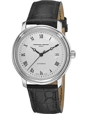 FREDERIQUE CONSTANT Croc-embossed leather strap watch