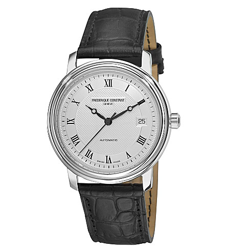 FREDERIQUE CONSTANT Croc-embossed leather strap watch (Steel