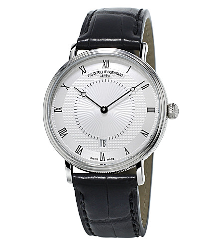 FREDERIQUE CONSTANT FC-306MC4S36 Slimline Classics automatic stainless steel and alligator-leather watch (Silver