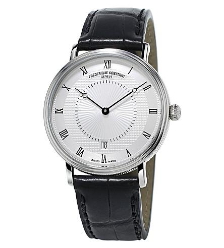 FREDERIQUE CONSTANT FC-306MC4S36 薄经典全自动不锈钢和鳄鱼皮手表 (银