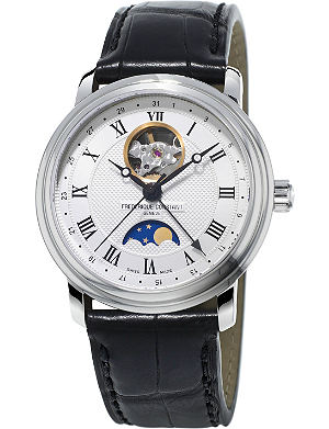 FREDERIQUE CONSTANT FC335MC4P6 Classics Moonphase Heartbeat gold-plated stainless steel and crococalf-leather strap