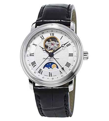 FREDERIQUE CONSTANT FC335MC4P6 Classics Moonphase Heartbeat gold-plated stainless steel and crococalf-leather strap (Mixed
