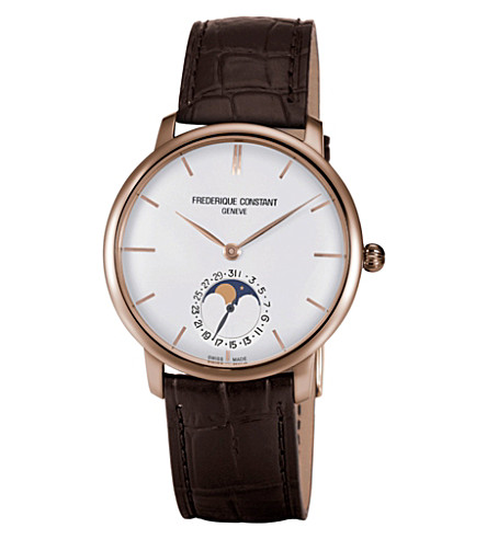 FREDERIQUE CONSTANT FC705V4S4 Classics Manufacture Slimline Moonphase rose gold-plated and alligator-leather watch