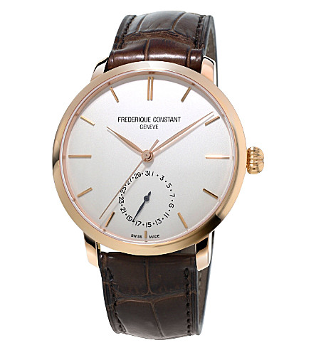FREDERIQUE CONSTANT FC-710V4S4 Manufacture Slimline rose gold-plated and alligator-leather watch (White