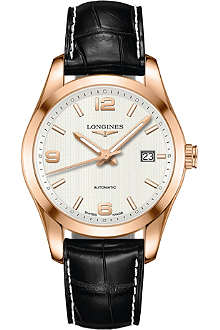 LONGINES L2.785.8.76.3 rose gold & leather watch