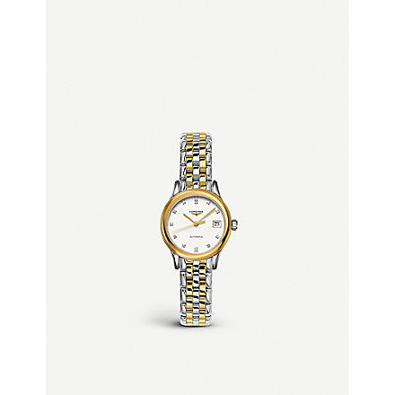 LONGINES Yellow gold & diamond watch
