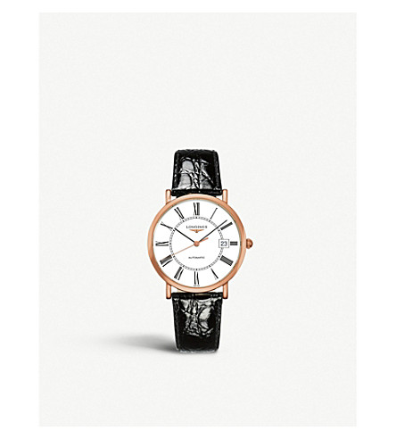 LONGINES Rose-gold & leather watch
