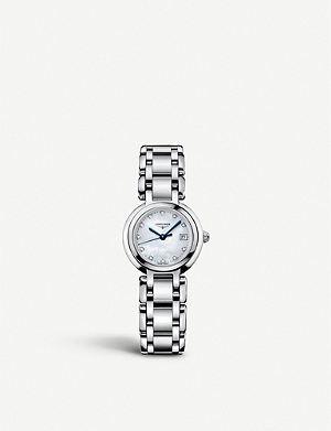 LONGINES L8.110.4.87.6 Prima Luna stainless steel and diamond watch