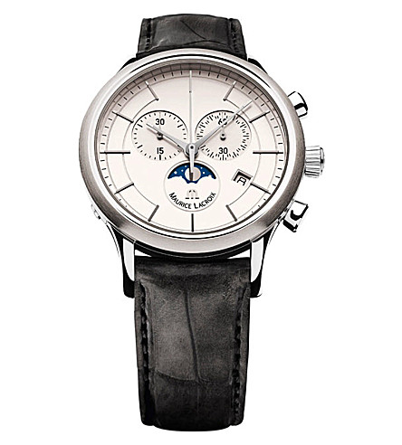 MAURICE LACROIX LC1148-SS001-131 stainless steel and leather watch