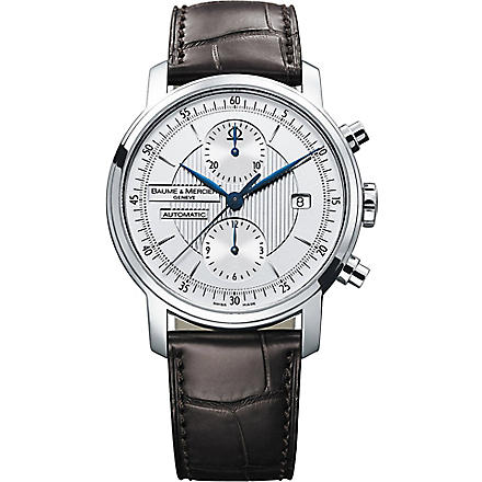 BAUME & MERCIER 8692 Classima stainless steel and alligator strap chronograph watch (Steel