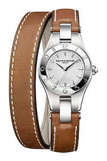BAUME & MERCIER M0A10036 Linea steel and leather watch