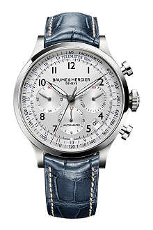 BAUME & MERCIER M0A10063 Capeland steel and leather watch
