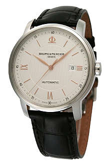 BAUME & MERCIER M0A10075 Classima stainless steel and alligator strap watch