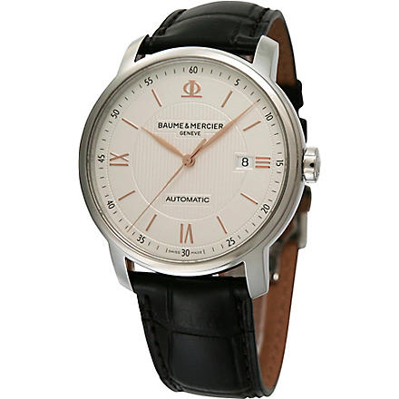 BAUME & MERCIER M0A10075 Classima stainless steel and alligator strap watch (Silver