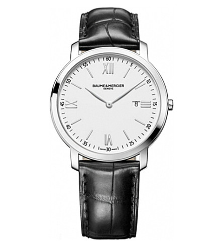 BAUME & MERCIER 10097 Classima steel and leather watch (Steel