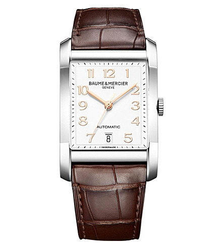 BAUME & MERCIER Hampton 10156 polished steel and leather watch