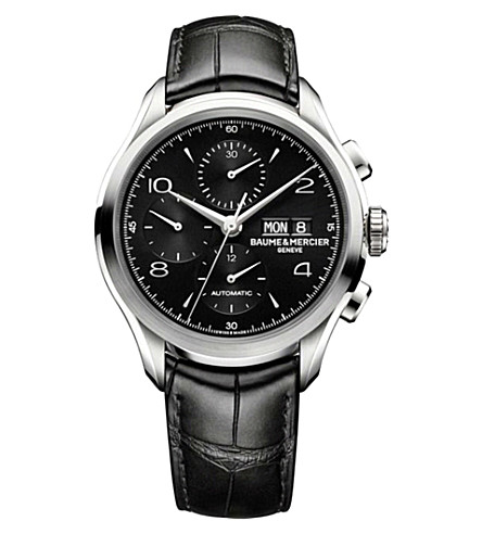 BAUME & MERCIER Clifton Chronograph 10211 polished steel and leather watch