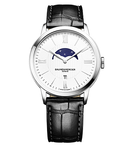 BAUME & MERCIER Classima 10219 stainless steel and alligator-leather watch