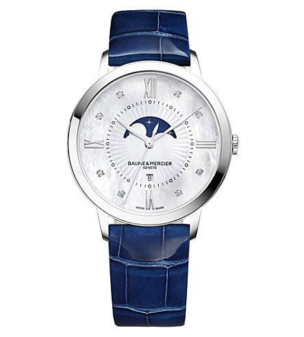 BAUME & MERCIER Classima 10226 stainless steel and alligator-leather watch