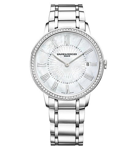 BAUME & MERCIER Classima 10227 diamond-set stainless steel watch