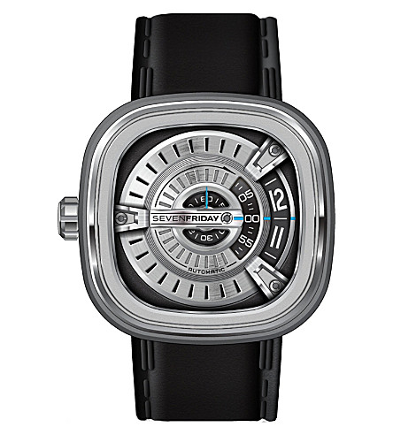 SEVEN FRIDAY M1/01 leather & silver watch (Silver