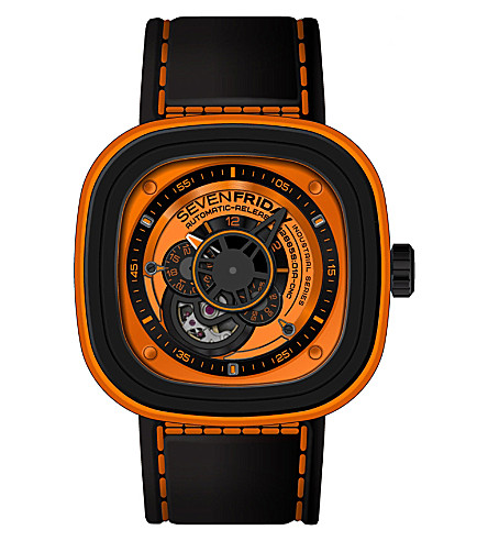 SEVEN FRIDAY P1/03 steel & rubber watch (Orange