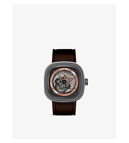 SEVEN FRIDAY P2/01 皮革和橡胶手表 (玫瑰色 + 金子