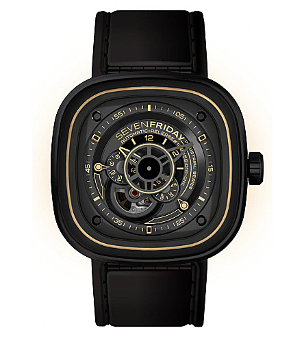 SEVEN FRIDAY P2/02 leather & steel watch (Black