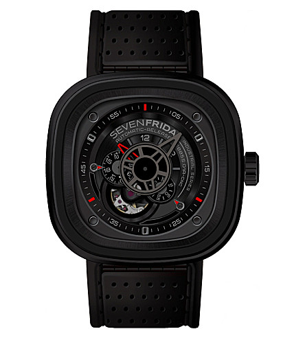 SEVEN FRIDAY P3/01 leather & rubber watch (Black