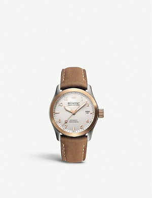 BREMONT SOLO37RG stainless steel and leather unisex watch