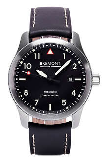 BREMONT SOLOCR stainless steel and leather watch