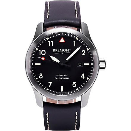BREMONT SOLOCR stainless steel and leather watch (Steel