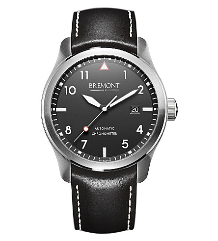 BREMONT SOLOWH stainless steel and leather watch (Steel