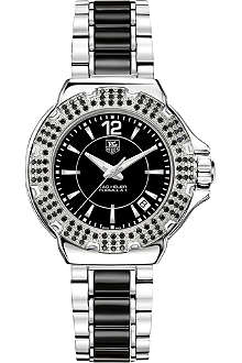 TAG HEUER Formula 1 steel & ceramic black diamonds watch 37mm