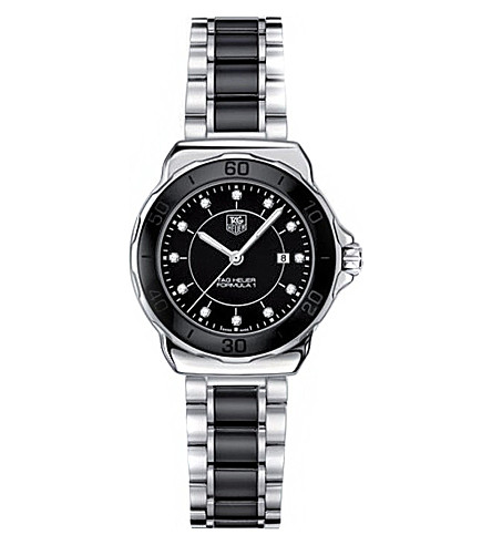 TAG HEUER Formula 1 steel & ceramic diamond dial watch 32mm (Ceramic- black