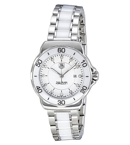 TAG HEUER 配方1钢和陶瓷金刚石表盘手表 32mm (陶瓷 + 白色