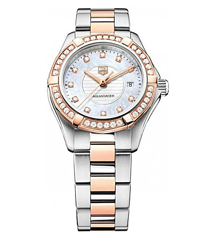 TAG HEUER wap1452.bd0837 Aquaracer diamond, 18ct rose-gold and stainless steel watch