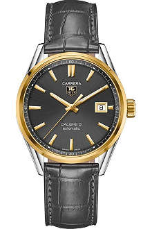 TAG HEUER WAR215CFC6336 Carrera 18ct gold, steel and alligator watch