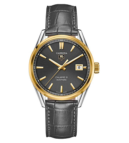 TAG HEUER WAR215CFC6336 Carrera 18ct gold, steel and alligator watch (Black