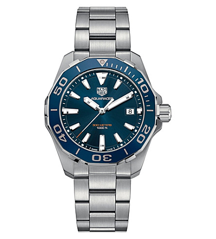 TAG HEUER WAY111CBA0928 aquaracer stainless steel blue mens (Blue