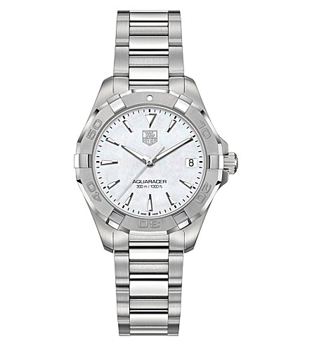 TAG HEUER WAY1312BA0915 Aquaracer polished steel and mother-of-pearl watch (Silver