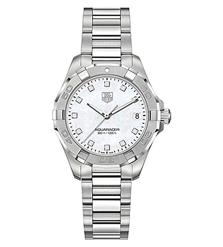TAG HEUER WAY1313.BA0915 Aquaracer Lady diamond and stainless steel watch (Mother+of+pearl