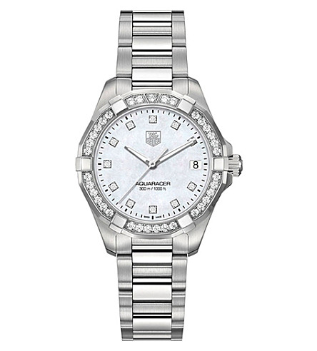 TAG HEUER WAY1314BA0915 aquaracer diamond and stainless steel watch (Silver
